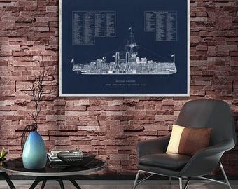 WWI-era British Battleship schematic reprint - Vintage Naval/Nautical reprint - 5 sizes up to 30 x 20 and 3 color choices - Home/Kid's Decor