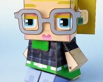 Make your own Hipster paper toy - HAZEL Deep Purple n Apple - D.I.Y. craft activity kit great gift for kids and crafters - DIGITAL DOWNLOAD