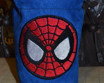 Dice Bag Spider-Man Embroidery on Blue Suede
