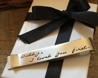 I Loved You First Father Of The Bride Tie Bar Gift, Wedding Gift From Bride, Stamped Tie Bar, Personalized Wedding Gift From Bride