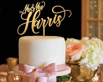 Mr & Mrs Wedding Cake Topper Personalized Gold Cake Topper