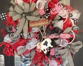 Wreath, Farmhouse Wreath, Door Hanger, Wreath for Door, Front door wreath, Large Wreath, Spring Wreath, Summer Wreath, Everyday Wreath
