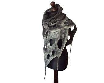 Felted Scarf Felt scarf Felted Collar Handmade Art to wear grey black felt Boho Fringes Women's Gift OOAK