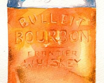Watercolour Print of Bulleit Bourbon Painting