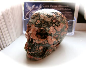 Leopard Skin Jasper Carved Crystal Skull 65mm 146g