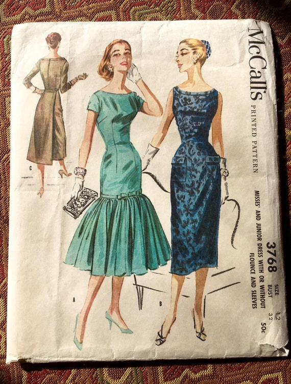 McCall's 3768 - 1956 Slim Cocktail Party Dress with Mermaid Flounce or Back Wrap Panel, Size 12/Bust 32, Rare Find, Complete