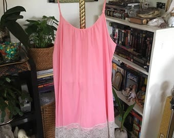 Vintage 60's Pink Babydoll Nightgown Lingerie Lace