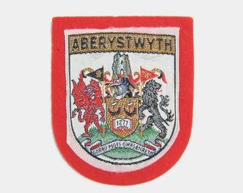 Vintage 1970s Aberystwyth Fabric Patch - Ceredigion West Wales Welsh fabric badge souvenir travel red white mid century coat of arms 1980s