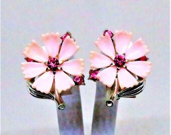 Pink Earrings - Vintage, Lisner Signed, Silver Tone, Pink Lucite, Pink Rhinestones, Screw Back