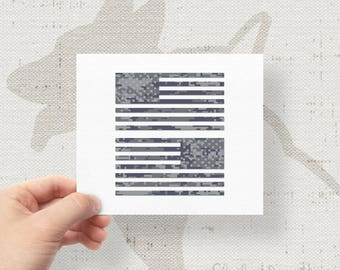 "Set of 2 - Jeep Wrangler American Navy Camo Flag Decals - 6"" x 3.16"""