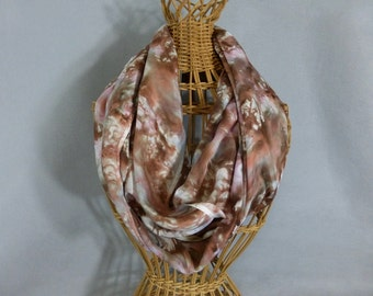 "Silk Infinity Scarf ""Pink and Brown Marble"", Hand Painted Silk Circle Scarf, Brown and Pink Scarf"