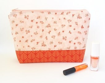 Cosmetic bag large, Makeup case, Toiletry bag women, Floral beauty bag, Apricot, Peach cosmetic bag, Zip up case, Travel pouch organiser