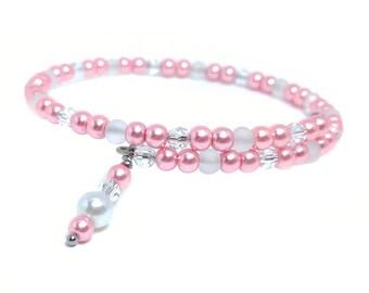 Pink Bracelet- Beaded Bracelet- Wrap Bracelet- Beaded Wrap Bracelet- Wire Bracelet- Stacking Bracelet- Bead Bracelet- Pink Pearl Bracelet