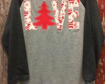 Christmas LOVE Baseball tee - Red and Cream Santa print Christmas shirt - Santa shirt