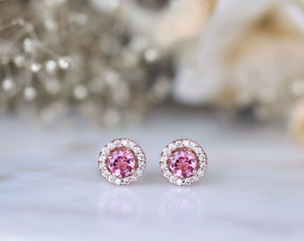 Pink Tourmaline and Diamond Halo Stud <Prong> Solid 14K Rose Gold (14KR) Colored Stone Earrings *Fine Jewelry* (Free Shipping)