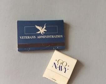 MILITARY MATCH BOOKS, Go Navy Matchbook, Veterans Administration match book, vintage matchbook, military match book, promotional match book