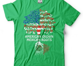American Grown Mexican Roots T-Shirt American Mexican Tee Shirt Mexico Day Tshirt