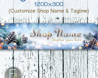 Etsy Shop Cover Photo 1200x300, Premade Holiday Design, Pine Cones & Branches, Customize Shop Name, Festive Etsy Shop, Christmas Banner