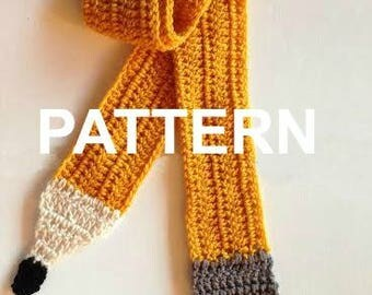 PATTERN Crocheted Pencil, pencil Scarf, teacher gift, graduate gift, secretary present, student teacher gift, crocheted pencil scarf, gift