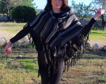 Poncho Tribal Poncho Ethnic Poncho Winter Poncho Cape Coat Boho Poncho Womens Poncho Hippie Poncho Womens Cape Winter Cape Shawl For Her