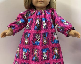 """18 inch & 15 inch FROZEN - Elsa and Anna DISNEY Nightgown, 18"""" Doll and 15"""" Bitty Baby or Twin Doll! I Love Frozen's Elsa and Anna! Sisters!"""