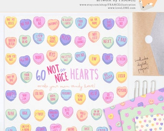GET 4 FOR 3. Mean Valentine's Day Candy Heart Clipart. Pastel Conversational Hearts. Tumblr Aesthetic. Valentines Clipart. Attitude. CA014.