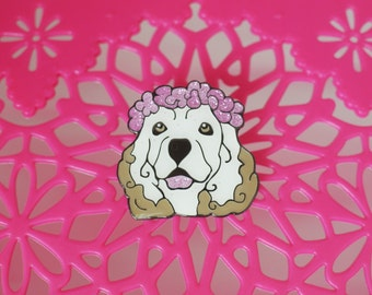 Enamel Glitter Pin Rescue Dog -- Lily!