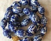 Vintage Chinese Necklace, Blue and White, Chinese Characters, Hand Painted Porcelain Beads, Blue Silk, Gold Tone Clasp, PK162