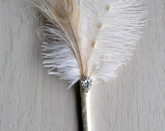 Wedding Ostrich Feather Pen Ivory Feather Pen Wedding Signing Pen Great Gatsby Guest Book Pen Wedding Reception Accessories ceremony