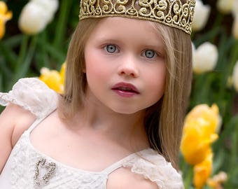Quinn 18K Gold Rhinestone Crown  - Gold Lace Crown + Swarvoski Crystals - Full Size - Photography prop - Toddler to Adult - Bling Crown