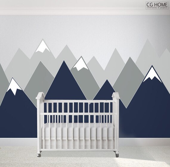 Entire Wall Protection Navy MOUNTAIN Covering Wall Decal Mountains Corner Vinyl Customized Personalized Washable Headboard Sticker Nursery