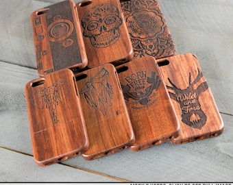 Wood Engraved iPhone Case - For iPhone 6 and 6s - 7 cool designs