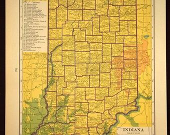 Vintage Indiana Map Etsy - Map indiana