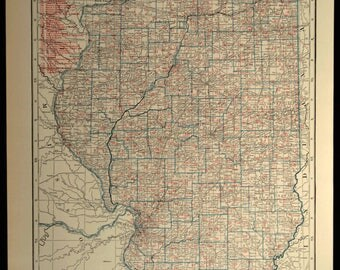 Illinois Railroad Map LARGE Railroad Map Illinois Wall Art