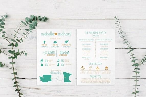 Infographic Wedding Program Printable PDF or by ParcelIsland