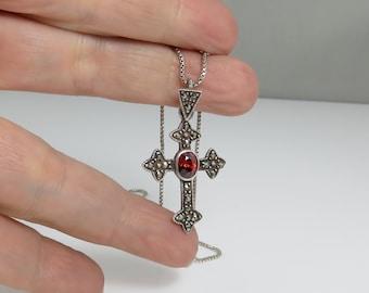 Vintage Sterling Garnet Cross Necklace.