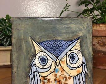 Ceramic Owl Tile Trivet // Blue / Brown / Cream