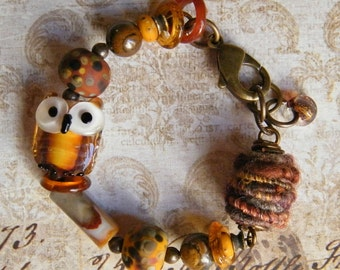 The Owl in the Autumn Forest, Lampwork Owl by Denise Annette, Wooly Wire Bead, Lampwork Beads by Pink Beach, Lampwork Beads by Pinocean
