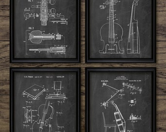 Cello Patent Print Set Of 4 Prints - Cello Design - Orchestra - Classical Music - Cellist Gift - Set Of Four Prints #2243 - INSTANT DOWNLOAD
