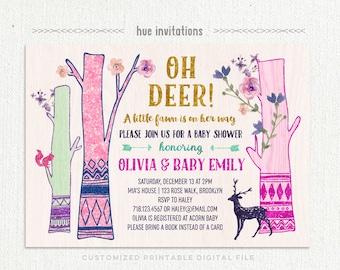 oh deer baby shower invitation, little deer tribal baby shower invitation, woodland gold glitter pink purple teal aqua floral, printable