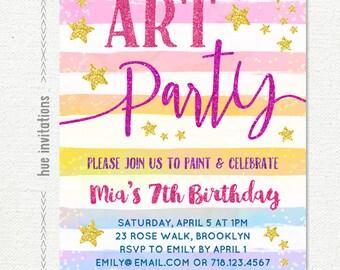 art party birthday invitation, rainbow 7th birthday invitation, paint party invitation, stars pink gold glitter printable digital file