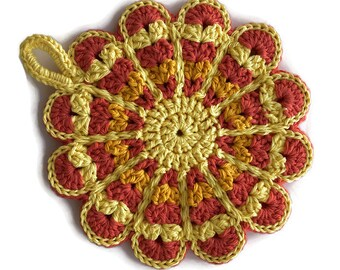 Crochet Flower Potholder,Made From Vintage Style Pattern,Tangerine, Gold, Yellow,Kitchen Decor,Hot Pad,Handmade Cotton Hotpad,- Gift for Her