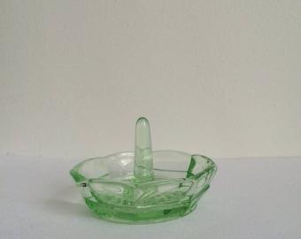Vintage Green Glass Ring Holder