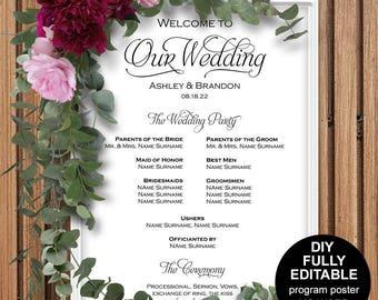 Wedding program poster, Wedding program sign, Wedding ceremony poster, Wedding poster, DIY, Printable, Template, Instantly download,