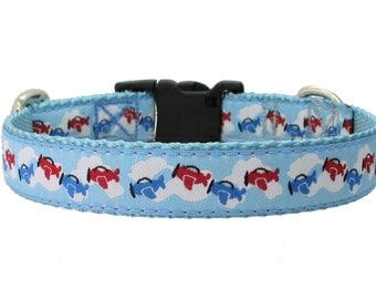 """Airplane Dog Collar - Red and Blue Airplanes on 3/4"""" Light Blue Jacquard Ribbon"""