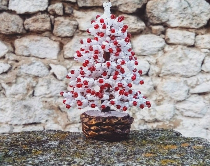 Beaded Christmas tree in snow with red lights, New Year gift, Christmas gift, seed bead tree, artificial Christmas tree, snowy spruce