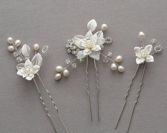 AMBER Silver   Bridal Hair pins, Bridal Headpiece, Wedding Headpiece, Bridal accessories
