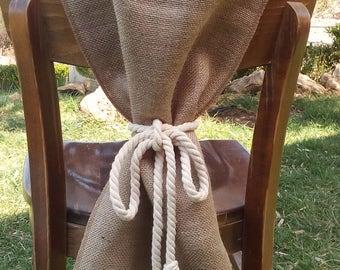 Burlap Chair Sash - Chair Swag - Burlap Chair Cover - Burlap Chair Tie - Wedding Chair Sash - Rustic Wedding Chair Sash - Set of 4