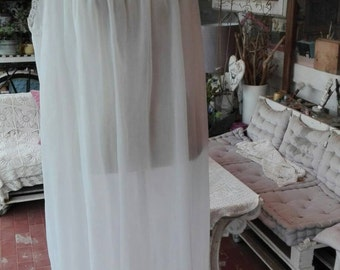 Shabby chic vintage white wedding bridal Nightgown white cloud inserts lace tulle sex 60s woman nightgown