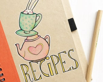Recipe Book with Bunny original illustration and color on recycled paper - pencil included